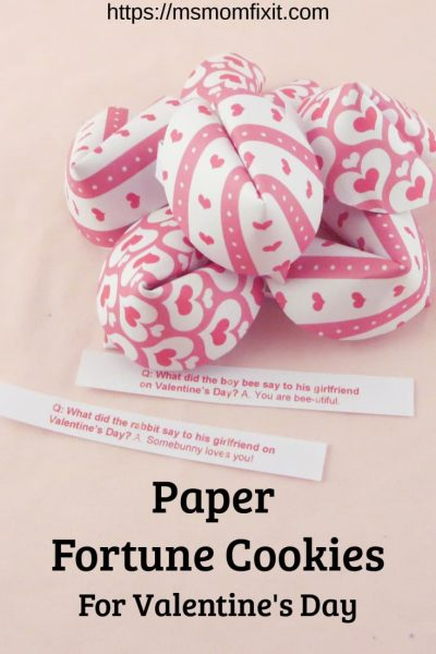 Paper Fortune Cookies for Valentine's Day