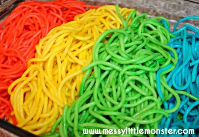 rainbow colored spaghetti
