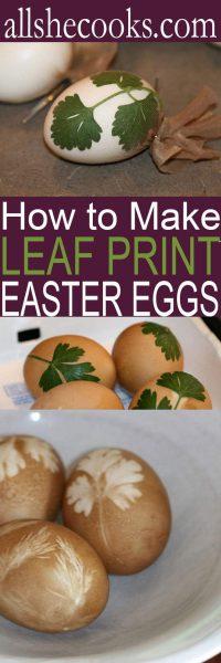 Leaf Print Eggs