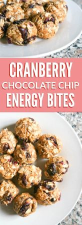 Cranberry Chocolate Chip Energy Bites